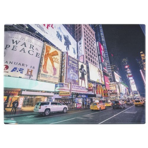 New York Times Square Tempered Glass Chopping Board